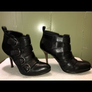 Coach Tessie Black Leather Buckle Ankle Boots